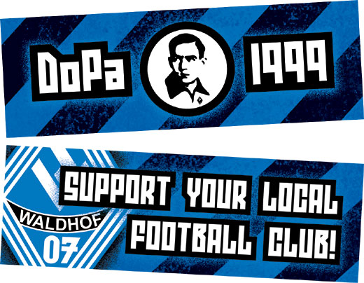 """DoPa 1999""-Old-School-Traditions- und ""Support your local football club!""-Aufkleber"