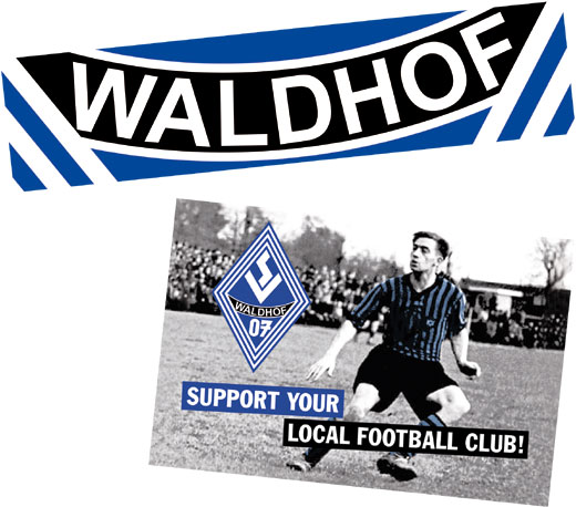 """WALDHOF""- und ""Support your local football club!""-Old-School-Aufkleber"