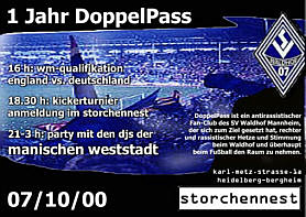 """1 Jahr DoppelPass""-Party am 7. Oktober 2000 im Storchennest, Heidelberg"